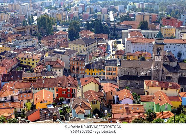 Locarno and the Piazza Grande, Ticino, Switzerland, from above