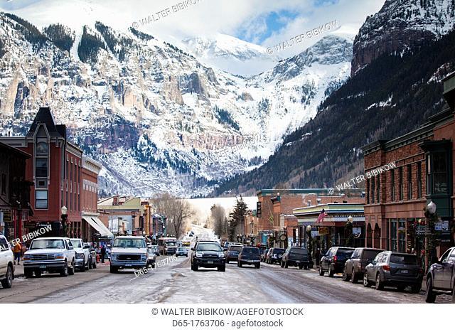 USA, Colorado, Telluride, Main Street and Ajax Peak, winter
