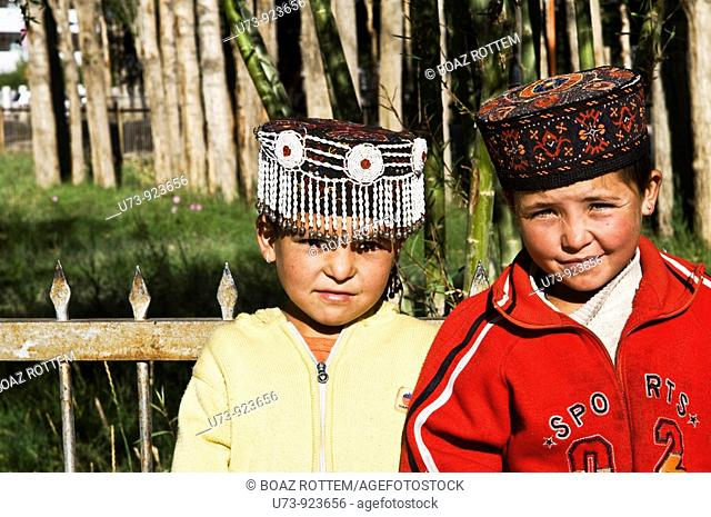 Cute Tajik school girls