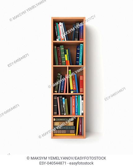 Letter I. Alphabet in the form of shelves with books isolated on white. 3d illustration