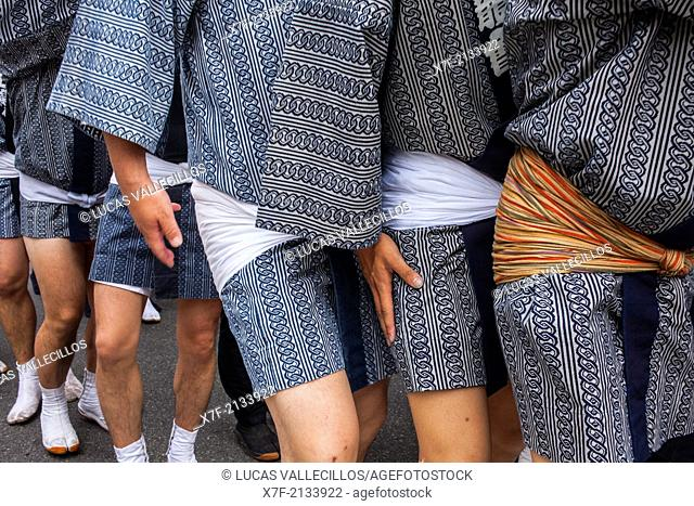 Detail, bearers of Mikoshi,Sanja Matsuri Festival, in Kaminarimon dori,next to Sensoji Temple, Asakusa, Tokyo, Japan, Asia