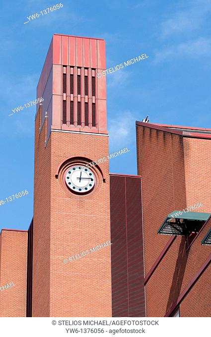 Detail of clock at The British Library in London,England
