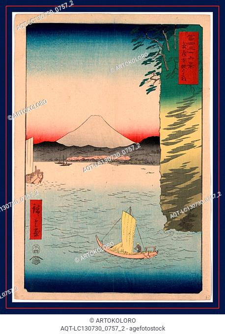 Musashi honmoku no hana, Honmoku no hana in Musashi Province., Ando, Hiroshige, 1797-1858, artist, 1858., 1 print : woodcut, color ; 36 x 24.6 cm