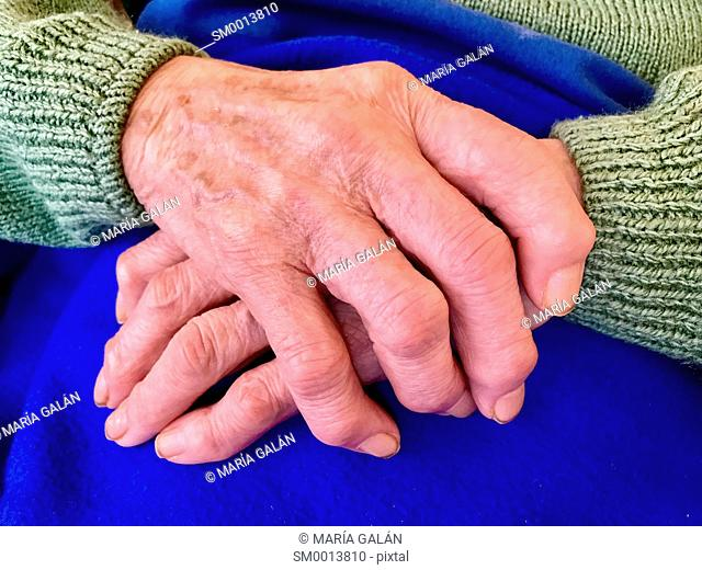 Elderly woman's crossed hands. Close view