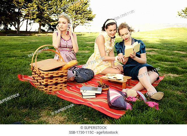 Three young women at a picnic