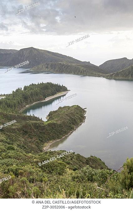 Lago de Fogo Fire lake viewpoint Ribeira Grande Sao Miguel island, Azores, Portugal