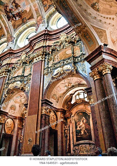 Walls in the chapel of the Melk Abbey, Austria