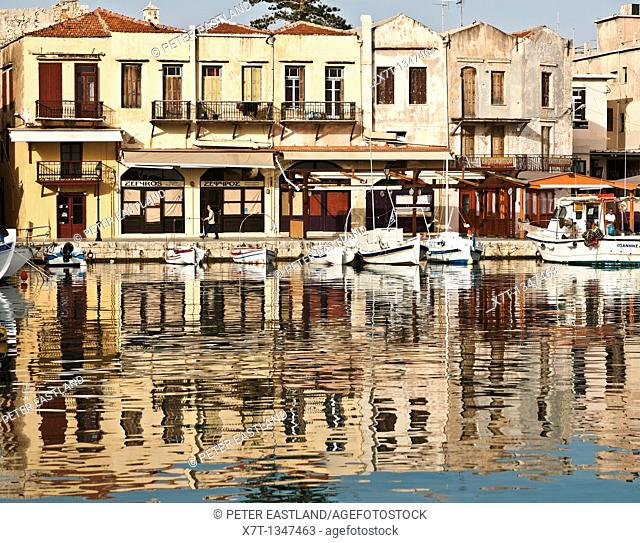 Early morning in the old harbour at Rethymnon on the island of Crete, with its colourful Venetian and Ottoman buildings