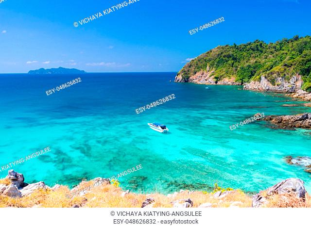 Aerial View point of Tropical white sand beach and snorkel point at cockburn island andaman sea indian ocean Myanmar and Thailand