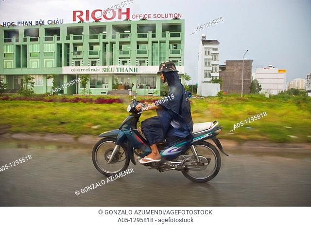 People in motorbike. Ho Chi Minh City (formerly Saigon). South Vietnam