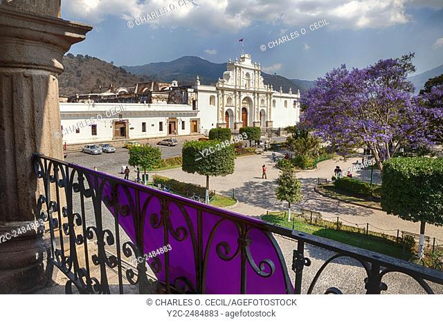 Antigua, Guatemala. Church of San Jose (Cathedral of Santiago) (St. James), from balcony of the Ayuntamiento (Municipal Town Hall)