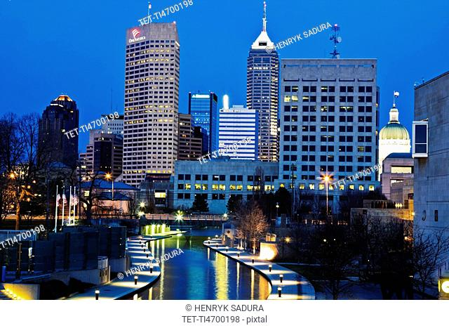 USA, Indiana, Indianapolis, Downtown at night