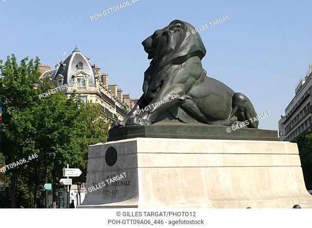 tourism, France, paris 14th arrondissement, place denfert rochereau, denfert rochereau square, lion of belfort, monument of national defense Photo Gilles Targat