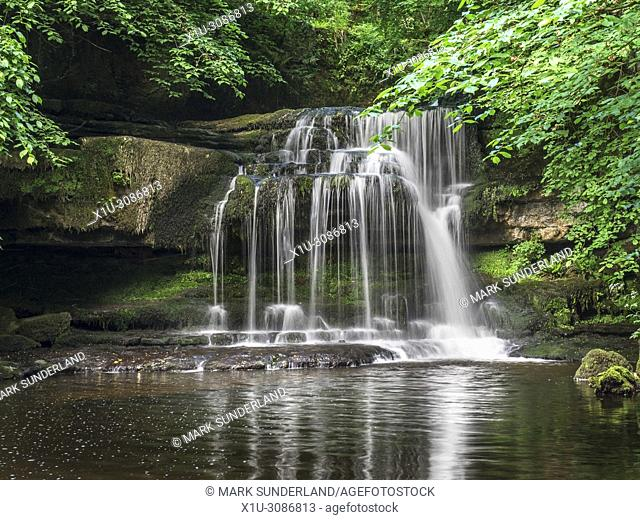 West Burton Waterfall or Cauldron Falls in the village of West Burton in Wensleydale Yorkshire Dales England