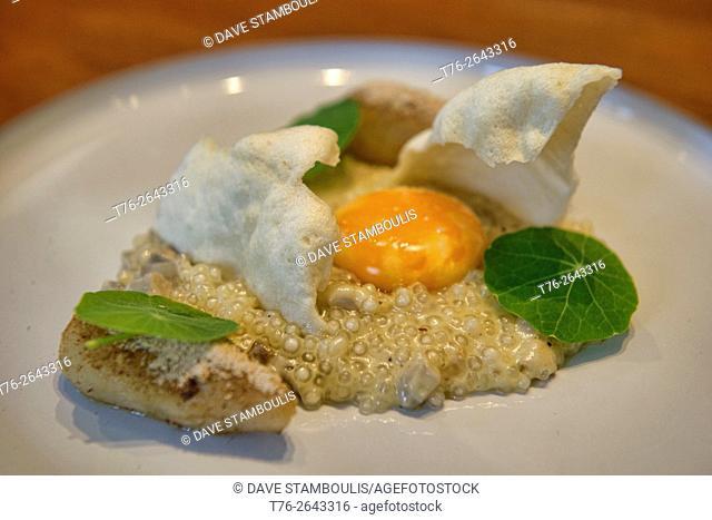 Jerusalem artichoke with an onsen egg at an elegant restaurant, Bangkok, Thailand
