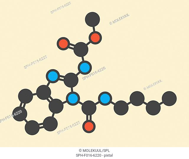 Benomyl fungicide molecule. Stylized skeletal formula (chemical structure). Atoms are shown as color-coded circles: hydrogen (hidden), carbon (grey)