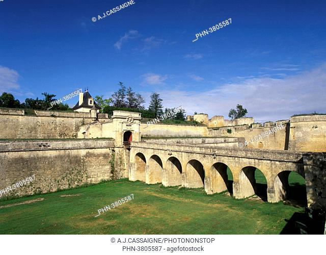 France, Southern France, Vauban's fortress in Blaye. Main entrance with the 'pont dormant' bridge. Big ditches and blue sky
