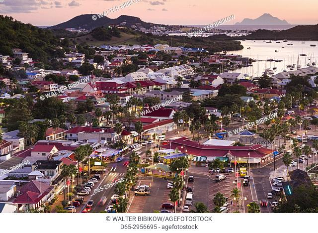 French West Indies, St-Martin, Marigot, elevated view from Fort Louis, dusk