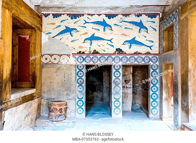Reconstruction of the dolphin frescoes by Arthur Evans, Megaron of the king and pillared vestibule in the palace of Knossos, Knossos, Minoan archaeological site