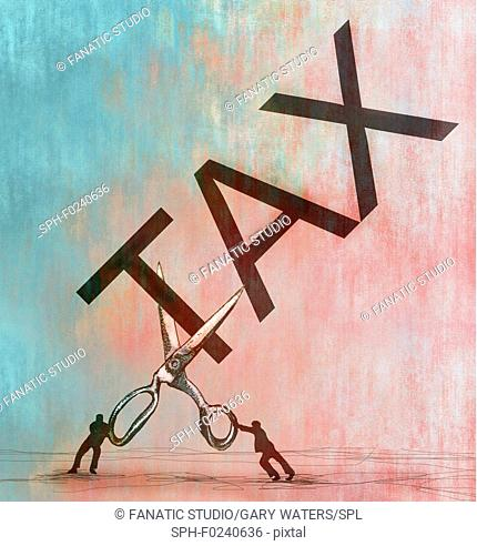 Conceptual illustration of two small men with a large scissors cutting the word tax depicting tax cuts