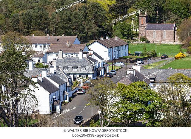 UK, Northern Ireland, County Antrim, Cushendun, elevated town view
