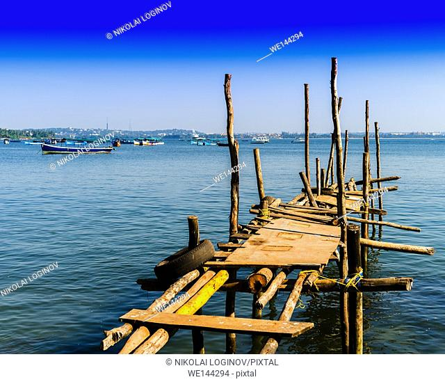 Horizontal vivid brokeh indian quay pier background backdrop