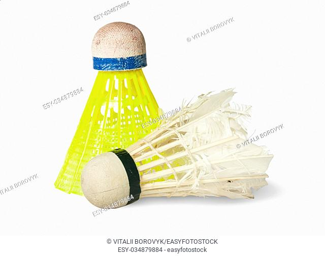 Two Old Badminton Shuttlecock Isolated On White Background