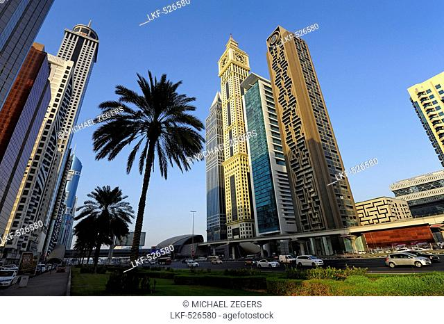 Skyscrapers on Sheikh Zayed Road between Emirates Towers and Financial Centre, Dubai, United Arab Emirates