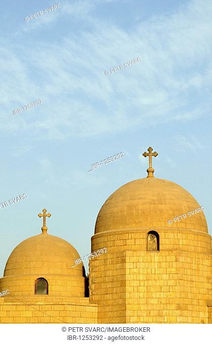 Domes of Church of Saint George, Upper Church, in Old Coptic Cairo, Masr al-Qadima, Egypt, North Africa
