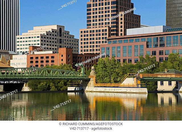 Genesee River & Skyline, Rochester, New York State, USA