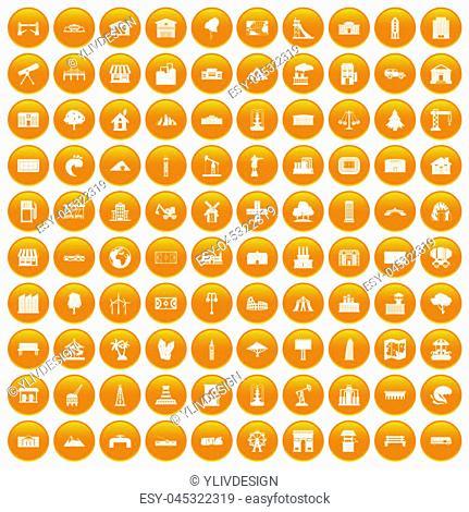 100 landscape element icons set in orange circle isolated on white illustration