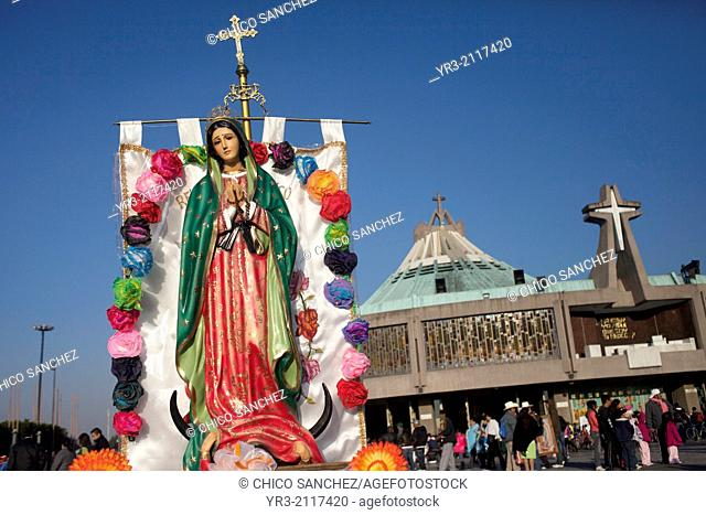 A banner with the image of the Virgin of Guadalupe at the pilgrimage to Our Lady of Guadalupe Basilica in Mexico City, Mexico, December 8, 2013