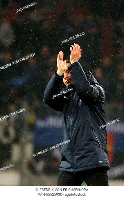 Mainz's coach Kasper Hjulmand celebrates after the Bundesliga soccer match 1st FSV Mainz 05 vs SC Paderborn 07 in Mainz, Germany, 31 January 2015