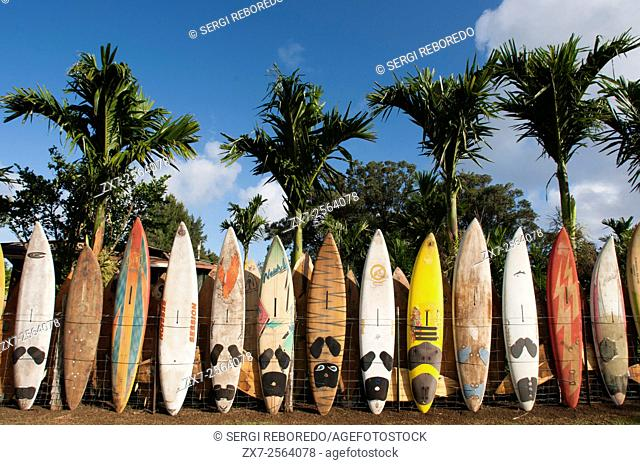 Surfboards decoration in a garden. Huelo. Hawaii. Huelo is a small community located along the Road to Hana Hana Highway