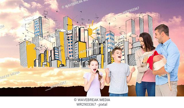 Parents gifting puppy to excited children with drawn city in background