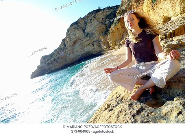30 years old woman on Paraiso beach, Carvoeiro, Algarve, Portugal, Europe