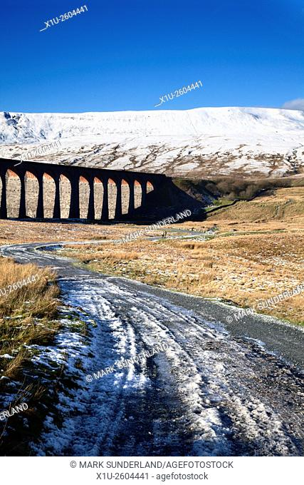 Ribblehead Viaduct and Whernside in Winter Ribblehead Yorkshire Dales England