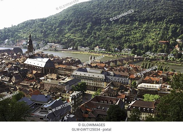 High angle view of buildings in a town, Heidelberg, Germany
