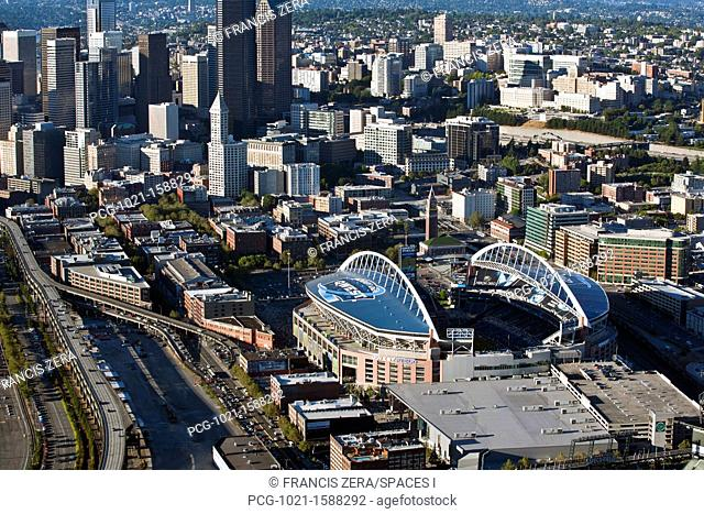 Sports Stadium and Downtown Seattle