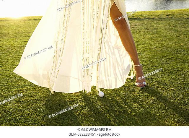 Bride standing in a golf course, Biltmore Golf Course, Coral Gables, Florida, USA