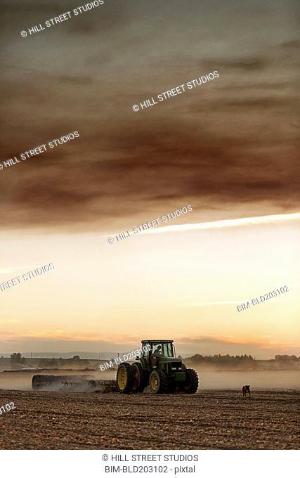 Tractor driving in crop field
