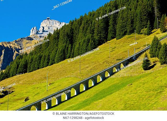 Seilbahn Mürren Allmendhubel funicular above Murren, Swiss Alps, Canton Bern, Switzerland