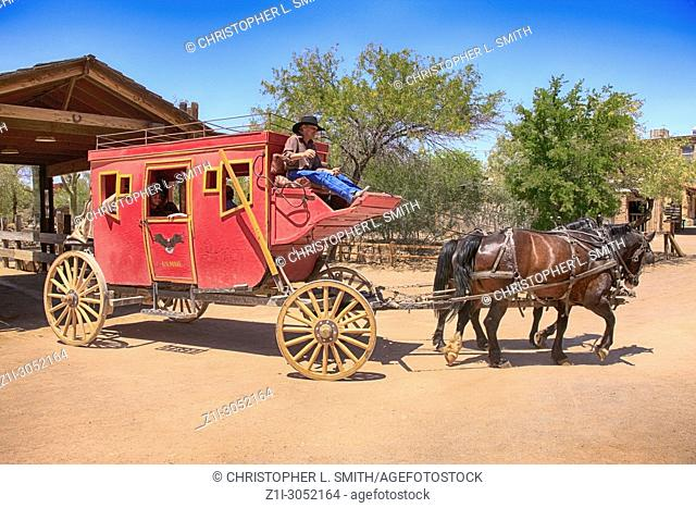 The Stagecoach leaves the OK Corral bound for Yuma at the Old Tucson Film Studios amusement park in Arizona