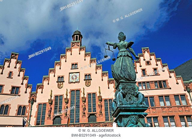 sculpture of goddess Justitia on a well at Roemerberg in ith old city of Frankfurt, Germany, Hesse, Frankfurt/Main