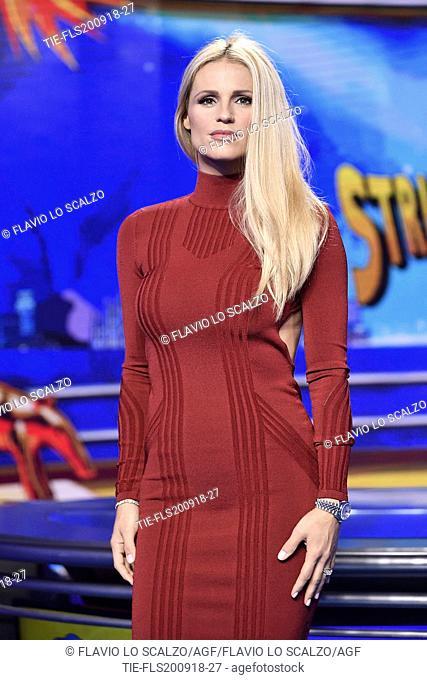 Tv presenter Michelle Hunziker during the photocall of tv show Striscia la notizia, Milan, ITALY-20-09-2018