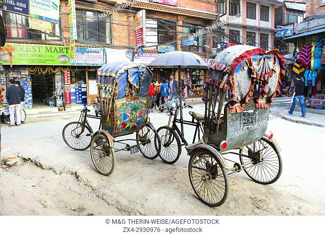 Rickshaw in Thamel district, Street scene, Kathmandu, Nepal