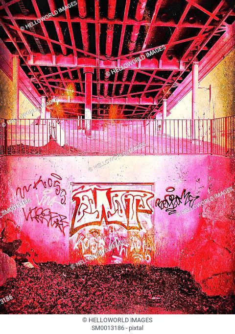 Graffiti under urban overpass, Stockholm, Sweden, Scandinavia