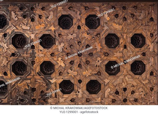 Wooden ceiling of Partal in Alhambra complex Granada, Spain