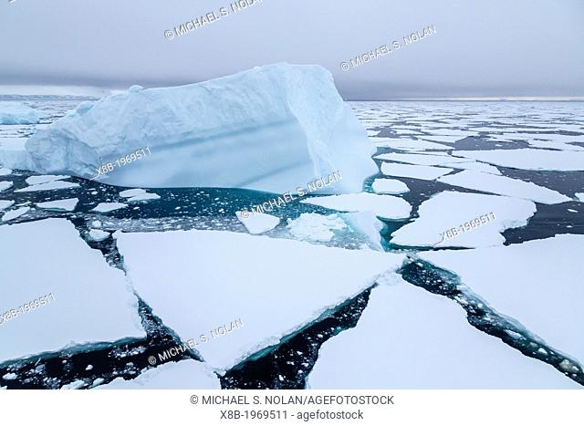 Icebergs in Crystal Sound, below the Antarctic Circle, Antarctica, Southern Ocean