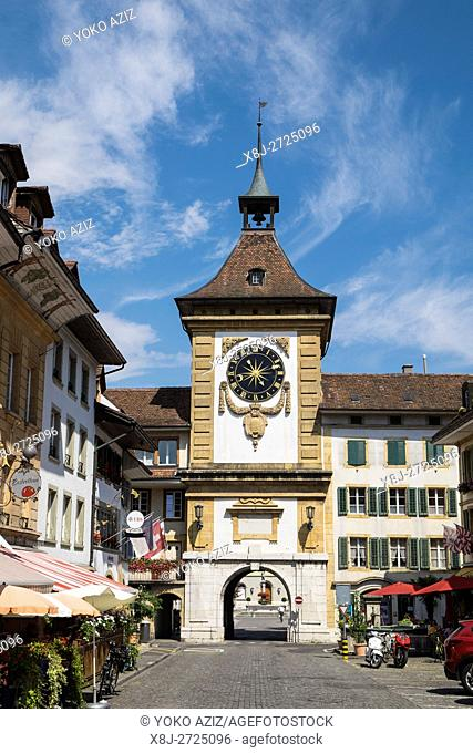 Switzerland, Canton Fribourg, Murten, Morat, tower bell